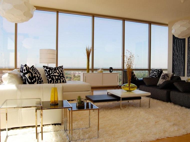 salon moderno sofa blanca negra mesas cristal preciosas ideas