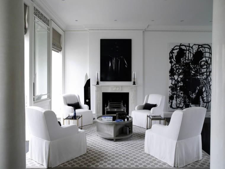 salon moderno sofas blancas cuadro pared chimenea ideas