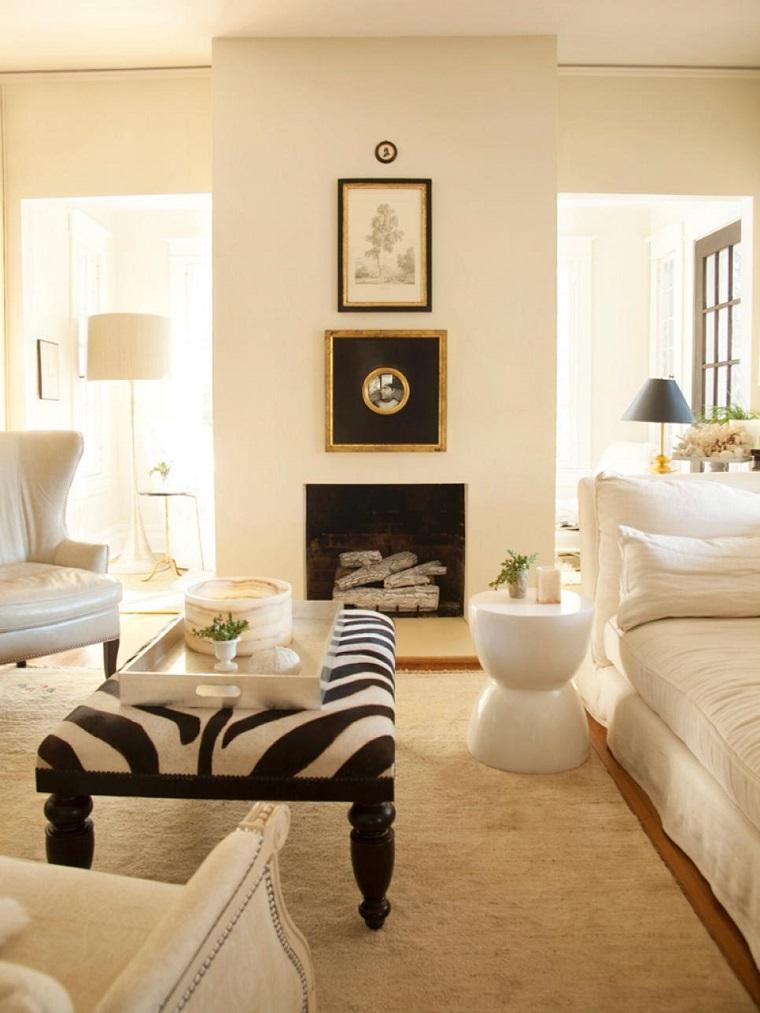 salon moderno taburete estampa zebra chimenea ideas