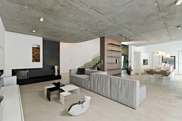 salon moderno techo cemento luces
