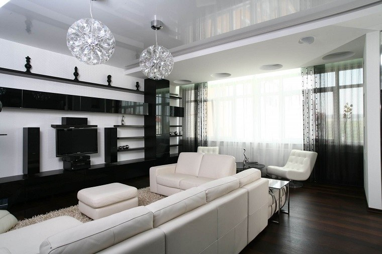 salon muebles blanco negro diseno