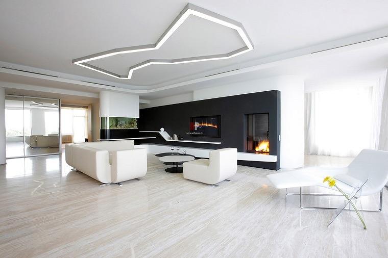 salon muebles blancos pared negra
