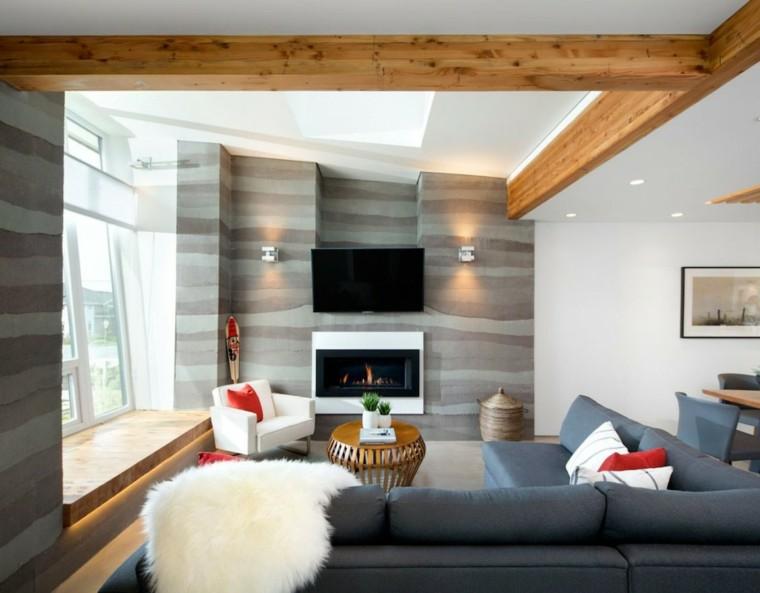 salon pequeño asiento ventana madera
