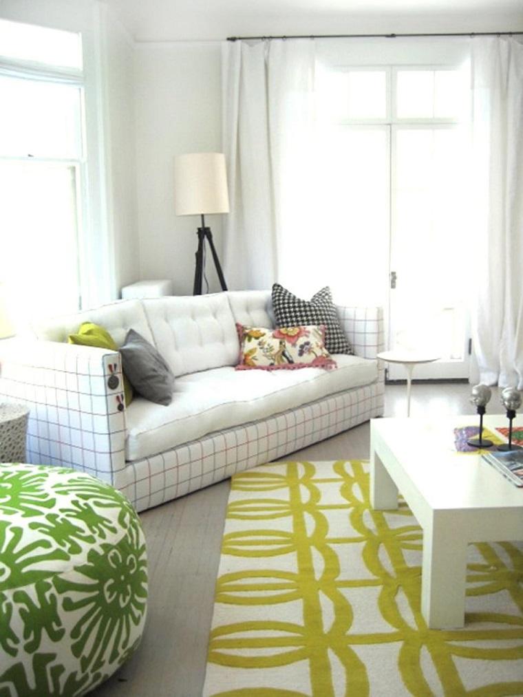 salon pequeno moderno alfombra blanco verde ideas