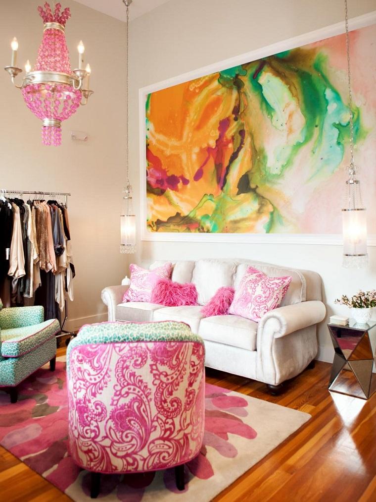 salon pequeno moderno cuadro grande colores vibrantes ideas