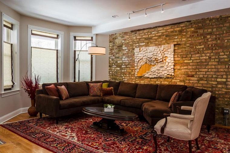 salon pequeno moderno cuadro pared ladrillo ideas