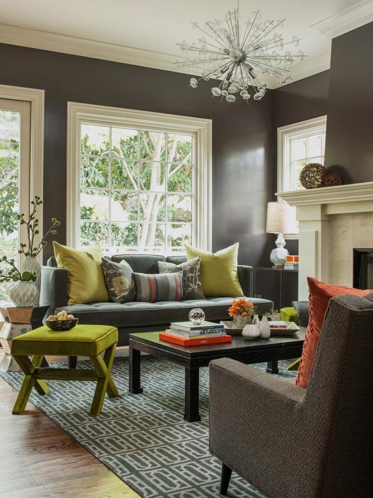 salon pequeno moderno paredes negras taburete verde ideas