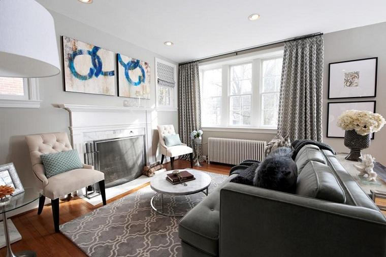 salon pequeno moderno sofisticado chimenea sillones ideas