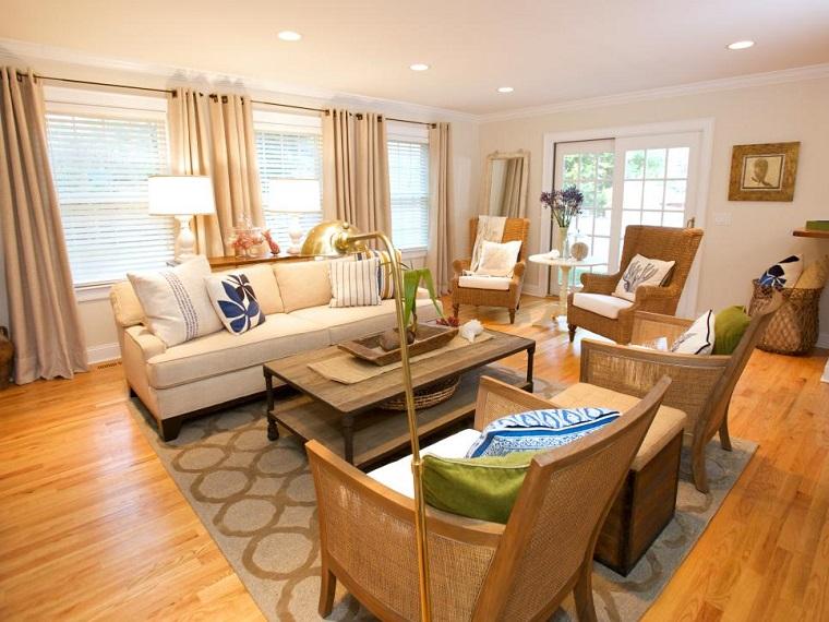 salon pequeno moderno varios sillones mesa madera ideas