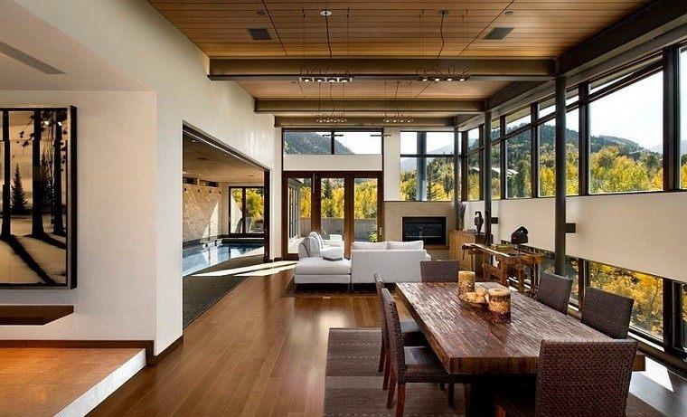 salon rustico abierto comedor sofa blanca ideas
