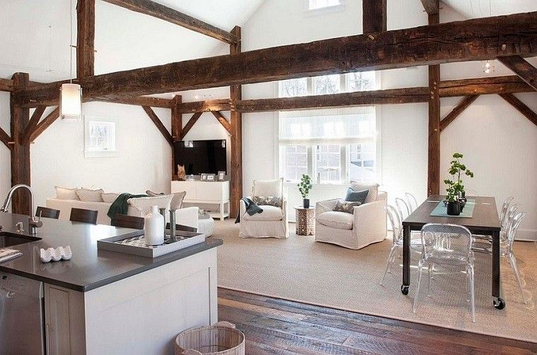 Salones rusticos 50 ideas perfectas para casas de campo - Comedor salon moderno ...