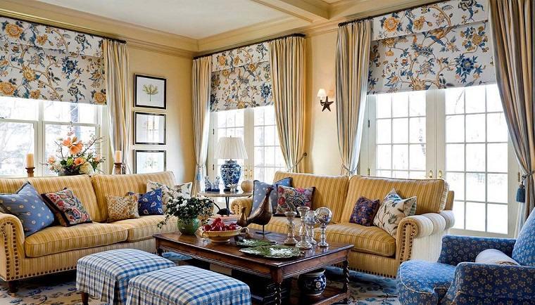 salon rustico casa campo colores brillantes ideas