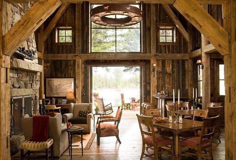 salon rustico chimenea madera sillones ideas