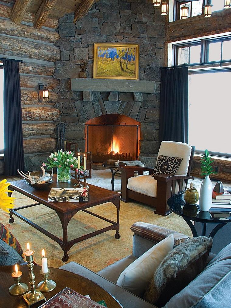 salon rustico elegante chimenea mesa sillon madera ideas