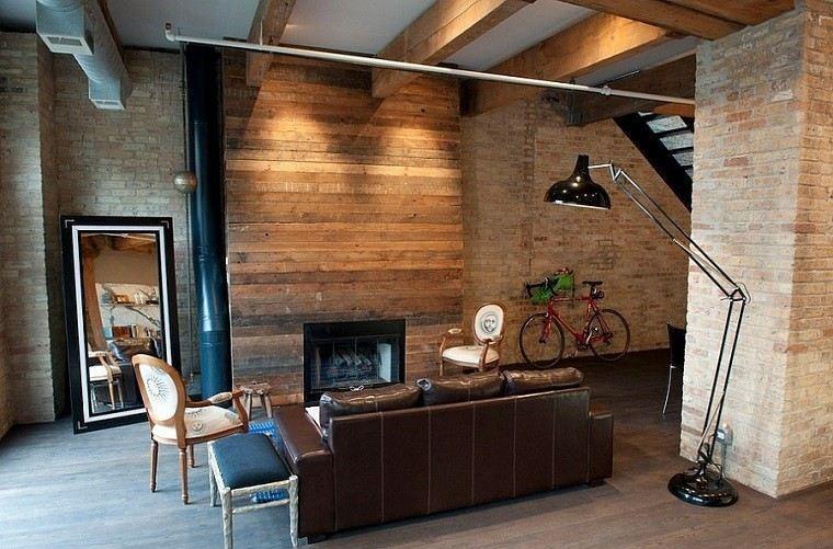salon rustico sofa grande cuero pared laminas madera ideas