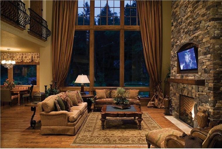 salon rustico ventana grande cortinas chimenea ideas
