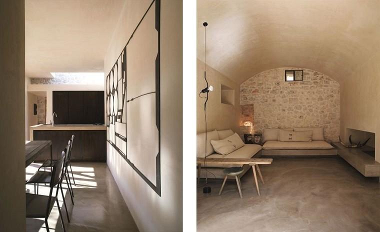 salones rusticos banco madera taburete pared piedra ideas