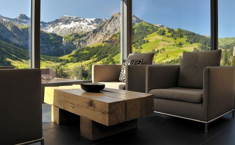 salones rusticos mesa madera silloenes grises ideas