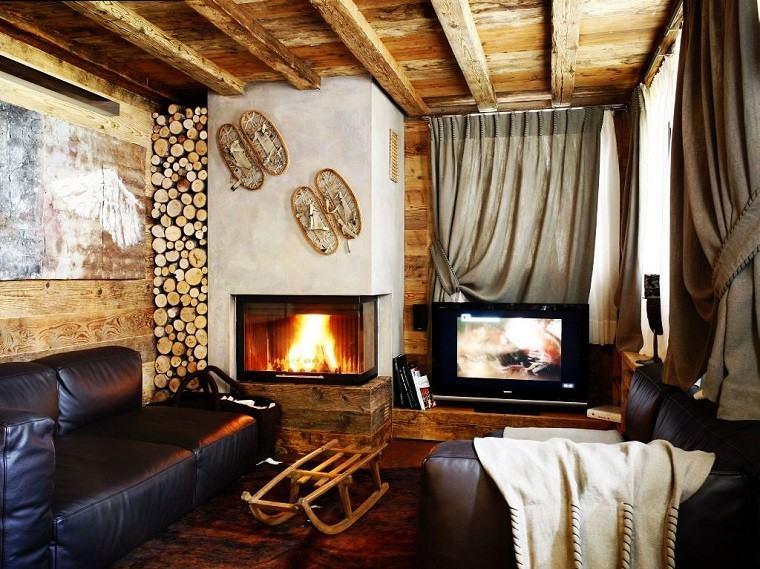 salones rusticos muebles cuero sofa negro chimenea ideas