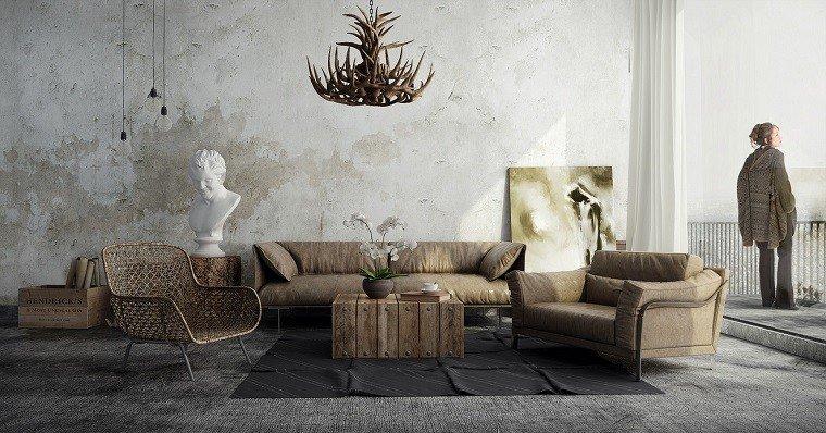 salones rusticos pared hormigon lampara original ideas