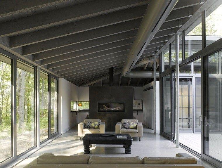 salones rusticos ventanales luminoso mesa madera negra ideas