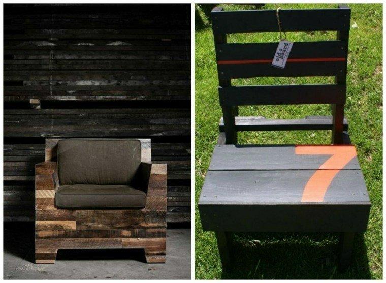 Cajas de madera usadas para fabricar muebles 75 ideas - Sillas hechas con palets ...