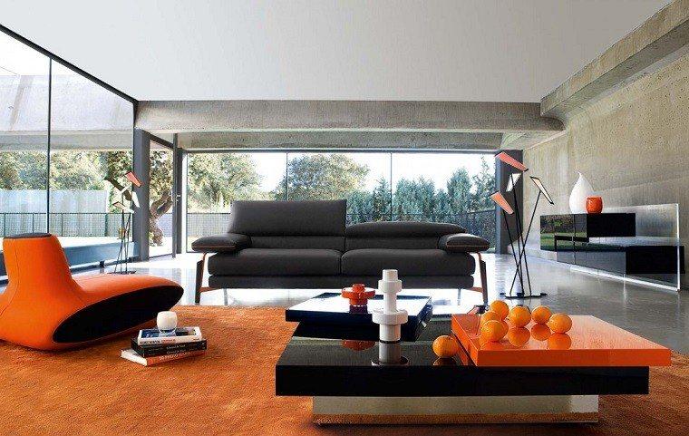 sillon alfombra color naranja llamativo salon amplio ideas