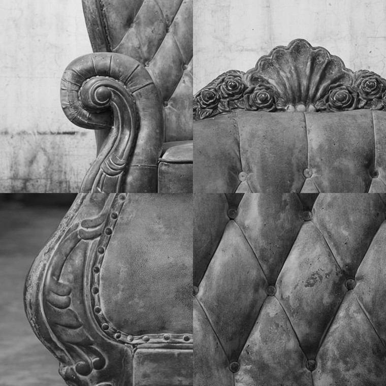 sillon antiguo terciopelo visto cerca