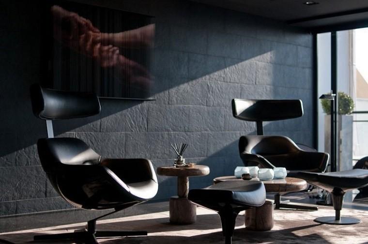 sillones negros mesas madera cuadro precioso ideas