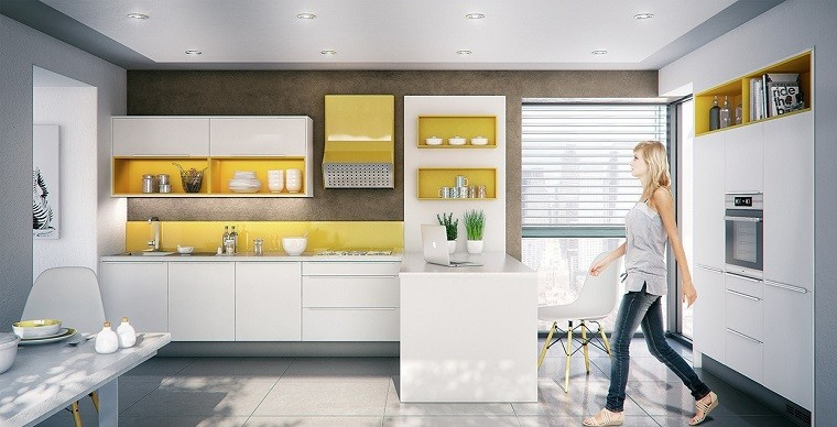 simple elegante cocina combinacion blanco amarillo ideas