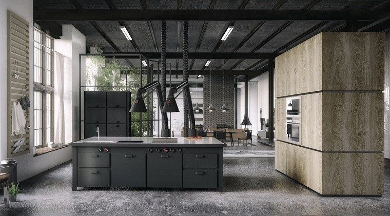 simple elegante cocina diseno industrial isla negra ideas