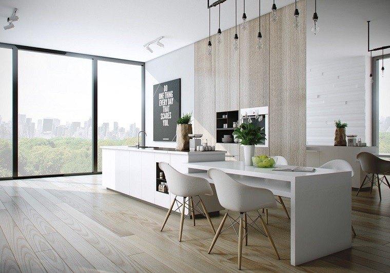 simple elegante cocina isla grande pared madera ideas