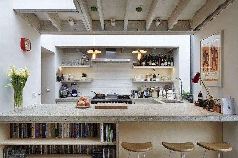 simple elegante cocina jarron flores frescas ideas