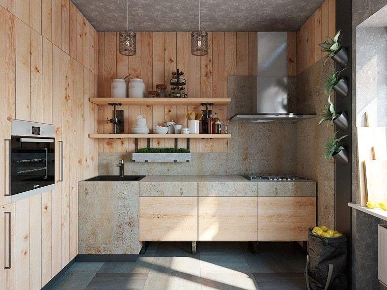 simple elegante cocina madera natural estantes ideas