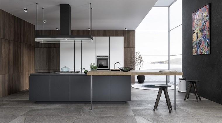 simple elegante cocina moderna isla grande ideas