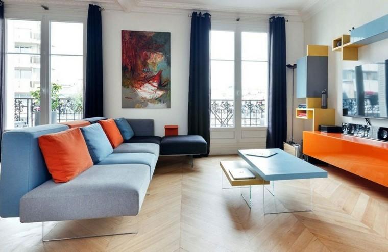 sofa diseño salon colorido cuadro paredes
