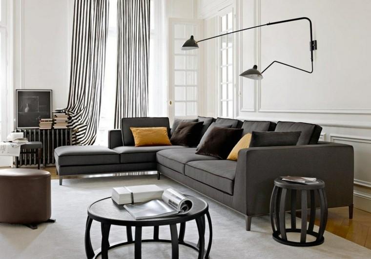 sofa diseño salon cortinas rayas amarillo