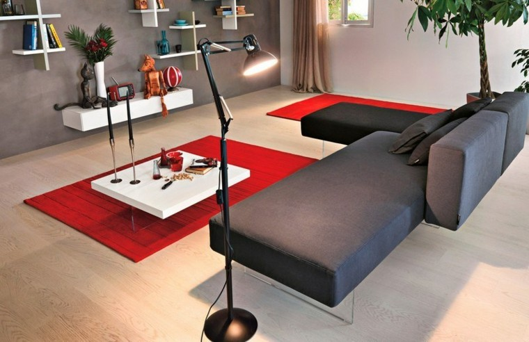 sofa diseño salon diferente alfombra rojo