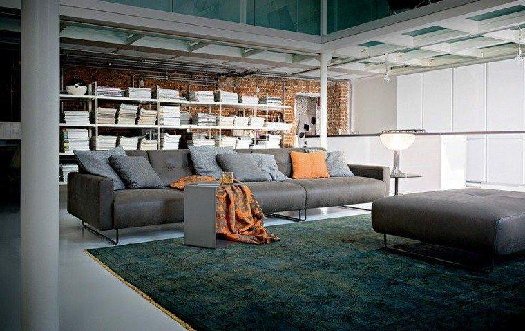 sofa diseño salon estantes librero naranja