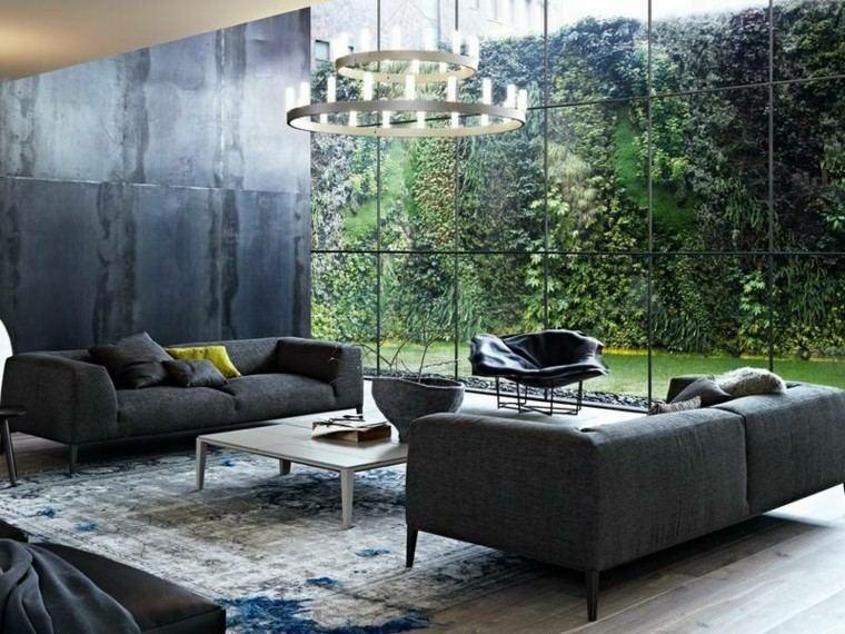 sofa diseño salon flores jardies pared