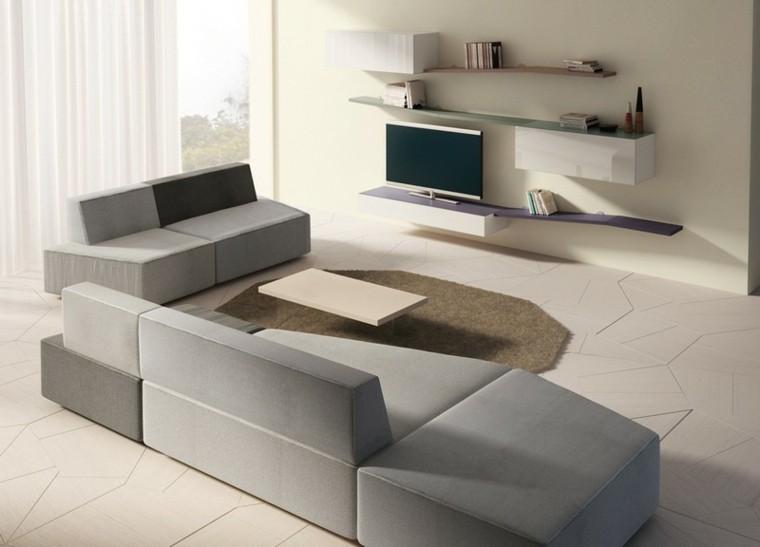 sofa diseño salon geometrico espacio television