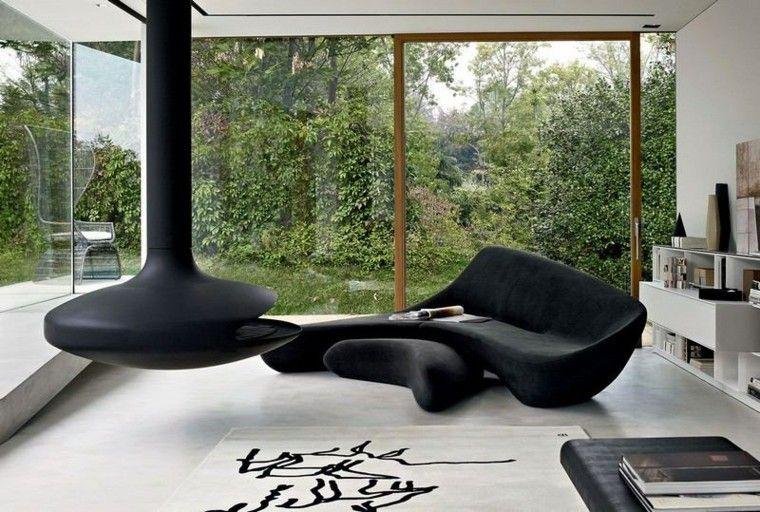 sofa diseño salon moderna chimenea contemporanea