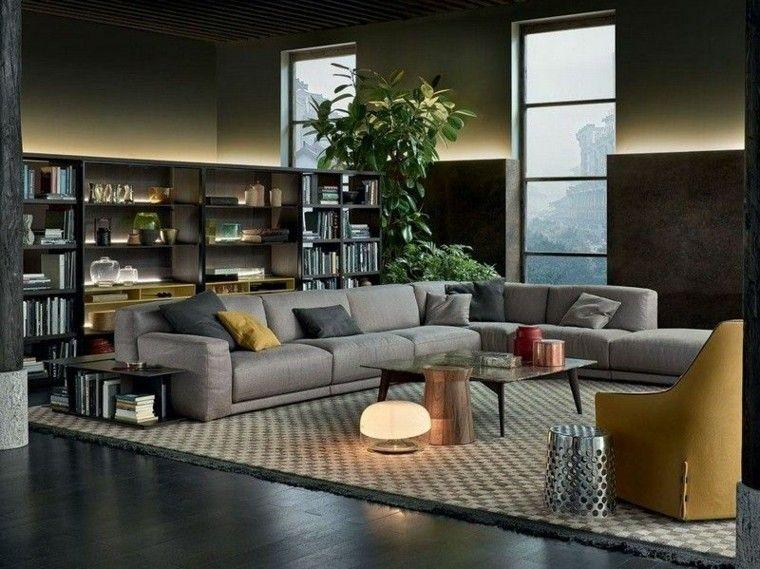 sofa diseño salon plantas flores amarillo