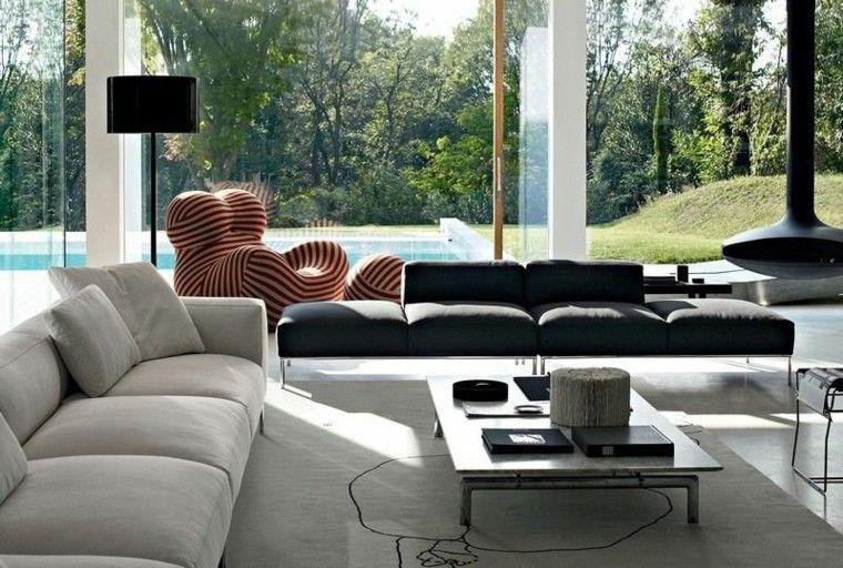 sofa diseño salon plantas jardin lamparas