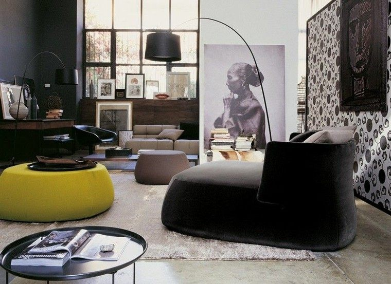 sofa diseño salon plantas mujer cuadro