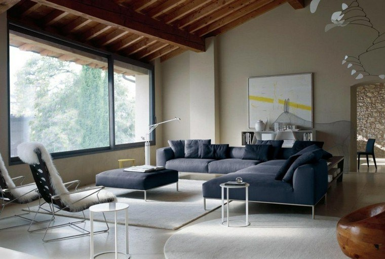 sofa diseño salon ventanas vidrio madera