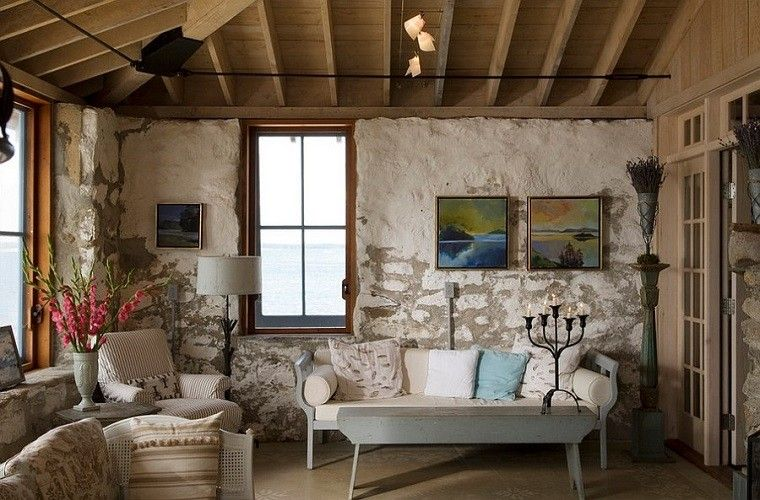 sofa pequena madera flores frescas decorativas ideas