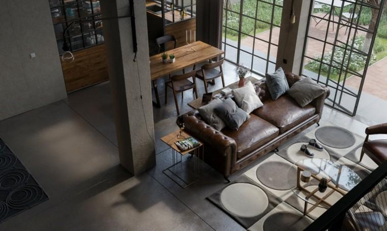 diseño sofa piel color marron