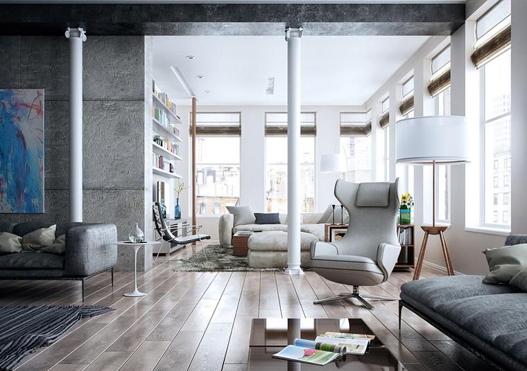 soleado grises paredes estilo moderno