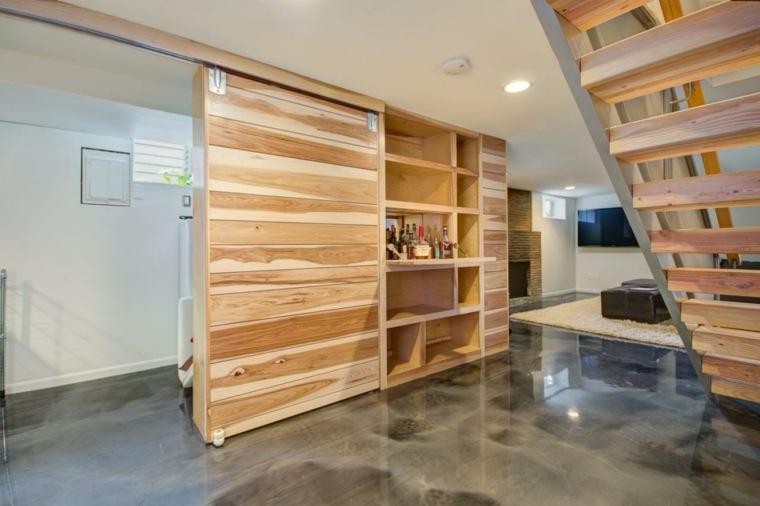 suelo concreto escaleras madera